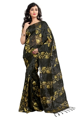 Black embroidered tissue saree with blouse