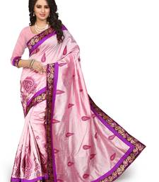 Buy Light pink embroidered art silk saree with blouse chanderi-saree online