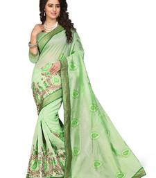 Buy Green embroidered art silk saree with blouse chanderi-saree online