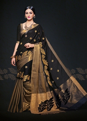 Black woven cotton poly saree with blouse