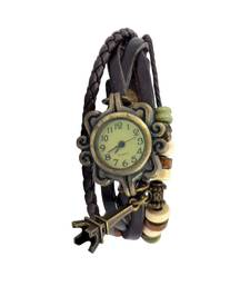 Buy In Love With The Eiffel TowerBrown Colour  Faux Leather Beadwork Hipster Watch watch online