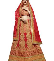 Buy Maroon embroidered art silk unstitched lehenga ghagra-choli online