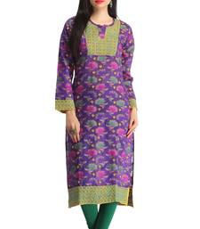 Buy Purple embroidered chanderi kurtas-and-kurtis chikankari-kurti online