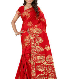 Buy Red plain tissue saree with blouse tissue-saree online