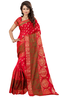 Red plain tissue saree with blouse