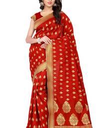 Buy Red plain banarasi silk saree with blouse fashion-deal online
