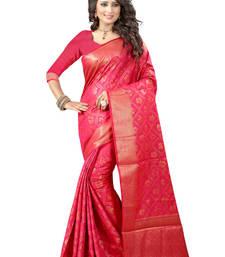 Buy Magenta plain poly cotton saree with blouse tussar-silk-saree online