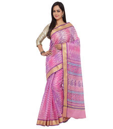 Buy Multicolor printed super net saree with blouse supernet-saree online