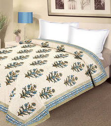 Buy Block Print Pure Cotton Double Duvet Covers in Blue and Green duvet-cover online