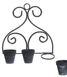 Buy Stylish Black & Grey 10.7 CM Planter Pots with Stand pot online