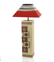 Buy Hand painted Wood Lamp Shade with worli painting table-lamp online