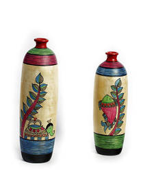 Buy Multicolor Hand painted Terracotta Vase with Elephant and Fish Motif vase online