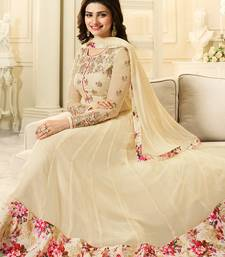Buy Beige embroidered georgette semi stitched salwar with dupatta anarkali-salwar-kameez online