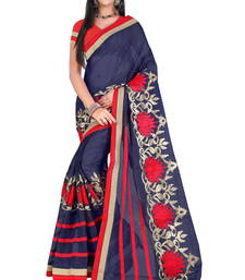 Buy Navy blue embroidered cotton saree with blouse cotton-saree online