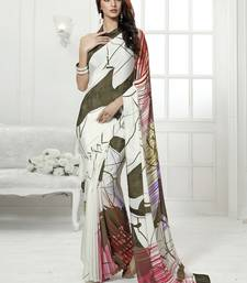 Buy White printed crepe saree with blouse crepe-saree online