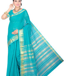 Buy Light blue maheshwari  saree with blouse maheshwari-saree online