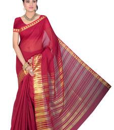 Buy Maroon maheshwari saree with blouse maheshwari-saree online