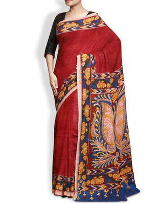 Maroon multi embroidery pure crepe saree