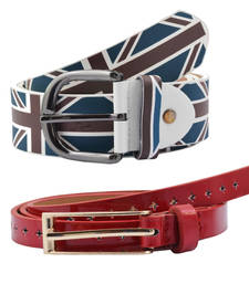 "Buy "" Flag Print and Red Color"" Belt Combo For Womens gifts-for-sister online"