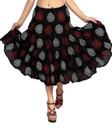 Buy Black cotton printed skirts cotton-skirt online