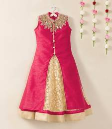 Buy Pink banglori flared kids anarkali indo western style wedding wear kids lehenga choli kids-lehenga-choli online