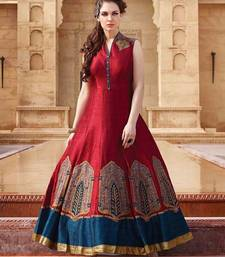 Buy Red embrodered and printed bhagalpuri semi stitched party wear gown party-wear-gown online