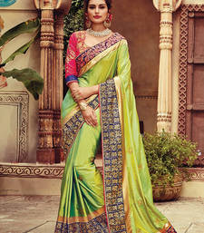 Buy Green embroidered art silk saree with blouse art-silk-saree online