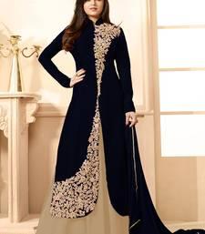 Buy Black Embroidered Banglori Silk Anarkali Semi-stitched Indowestrn Suit indowestern online