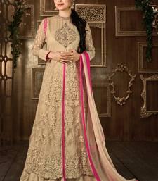 Buy Beige embroidered net semi stitched salwar with dupatta semi-stitched-salwar-suit online