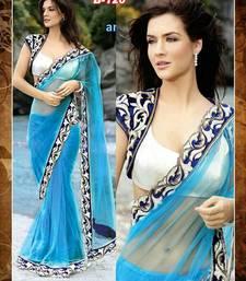 Buy blue designer saree with velvet jacket party-wear-saree online