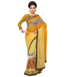 Buy Yellow embroidered chiffon saree with blouse printed-saree online