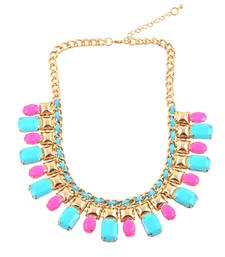 """Buy """" Multicolor Gemstones"""" Statement Necklace For Womens collar-necklace online"""