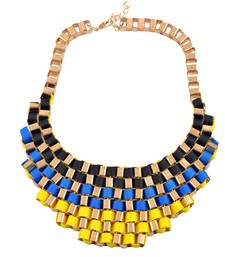 "Buy ""Shades Of Blue "" Multicolor Statement Necklace For Womens collar-necklace online"