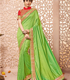 Buy Green embroidered Shachi silk saree with blouse art-silk-saree online