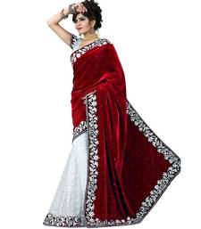 Buy maroon and beige embroidery velvet saree with blouse velvet-saree online