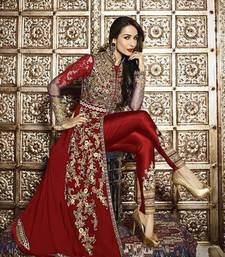 Buy Maroon embroidered georgette semi stitched salwar with dupatta semi-stitched-salwar-suit online
