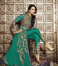 Buy Green embroidered georgette semi stitched salwar with dupatta eid-special-salwar-kameez online