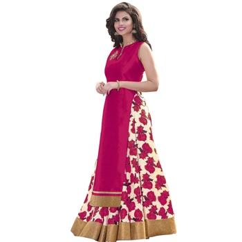 Pink printed cotton_silk lehenga with choli