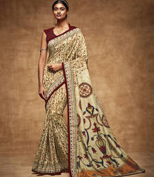 Buy Beige printed tussar silk saree with blouse traditional-saree online
