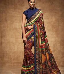Buy Black printed tussar silk saree with blouse traditional-saree online