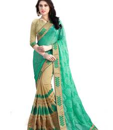 Buy Turquoise embroidered georgette saree with blouse brasso-saree online