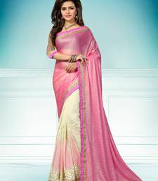 Buy pink plain Georgette saree with blouse eid-saree online