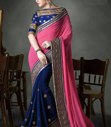 Buy Blue embroidered georgette saree with blouse heavy-work-saree online