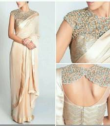 Buy Cream plain lycra saree with blouse party-wear-saree online