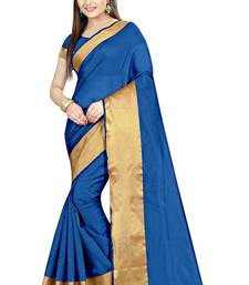 Buy Blue Plain cotton poly saree with blouse ethnic-saree online