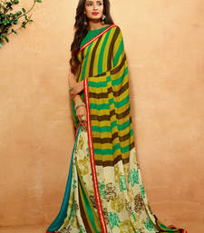 Buy Olive printed crepe saree with blouse crepe-saree online