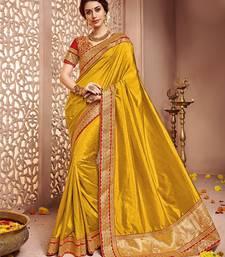 Buy Dark yellow embroidered banglori silk saree with blouse wedding-saree online