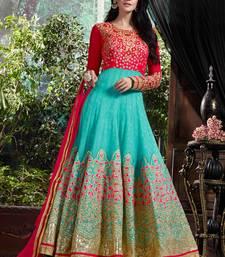 Buy sky blue embroidred georgette semi stitched salwar with dupatta anarkali-salwar-kameez online