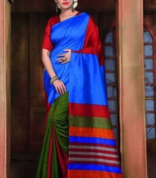Buy Blue printed bhagalpuri silk saree art-silk-saree online