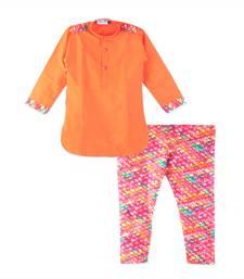 Buy Red pathani cotton kurta with printed pyjama pathani-suit online